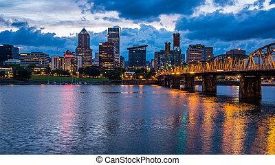 Portland Skyline Along Willamette River