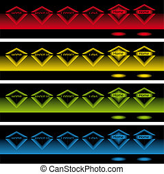 glowing diamond pop up buttons in the dark - banners of...