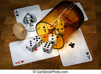 Games of chance - Game Cards, Dices and whirligig on the...