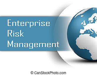 Enterprise Risk Management concept with globe on white...