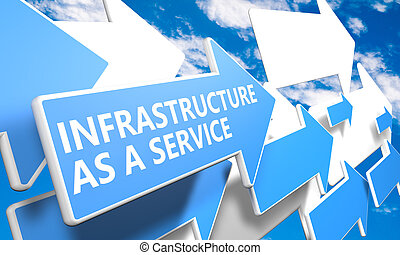 Infrastructure as a Service 3d render concept with blue and...