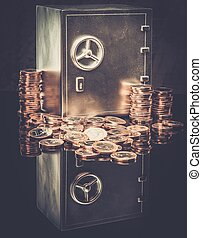 Conceptual little safe with euro coins