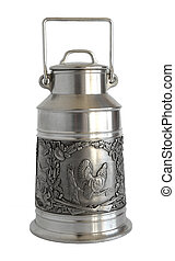 Silver Milk can with bas-relief