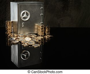 Conceptual little safe with euro coins