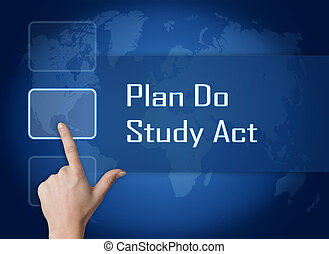 Plan Do Study Act concept with interface and world map on...
