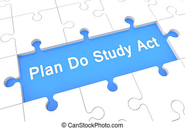 Plan Do Study Act - puzzle 3d render illustration with word...