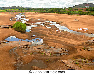Africa Mozambique Prospect of river with washing people