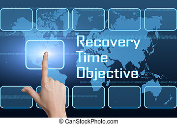 Recovery Time Objective concept with interface and world map...