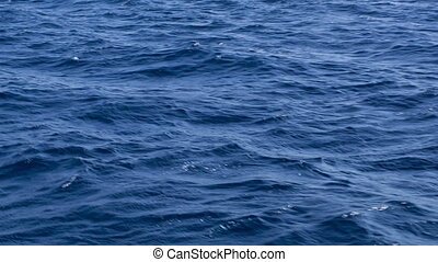 Blue water surface filmed from yacht