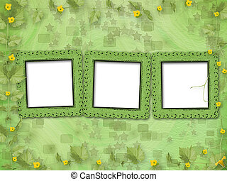 Grunge paper frames with flowers pumpkins on the abstract...