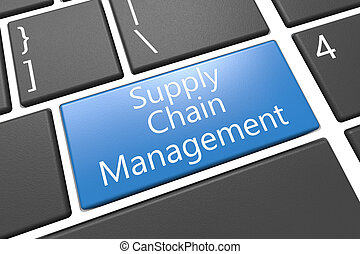 Supply Chain Management - keyboard 3d render illustration...