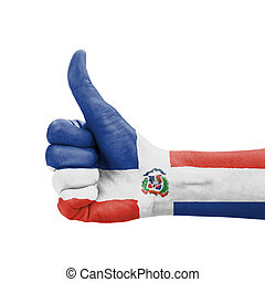 Hand with thumb up, Dominican Republic flag painted as...