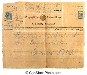Antique telegram - Old telegram with handwritten text...