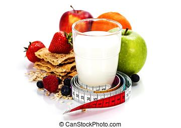 diet food - Glass of milk or kefir, fruits, crispbreads,...