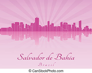 Salvador de Bahia skyline in purple radiant orchid in...