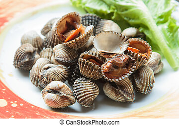 seafood - Boiled cockles or scallop with seafood sauce