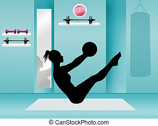 Pilates in the gym - illustration of pilates in the gym