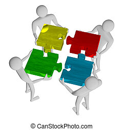 3d people assembling multicolor puzzle - 3d people...