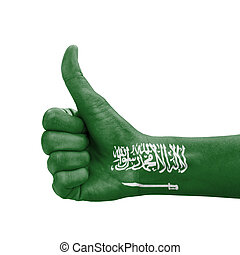Hand with thumb up, Saudi Arabia flag painted