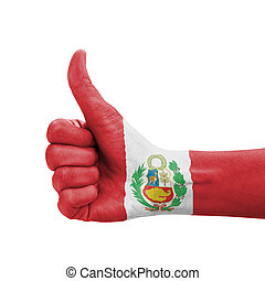 Hand with thumb up, Peru flag painted as symbol of...