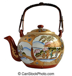 Japanese porcelain teapot - Vintage Japanese teapot isolated...