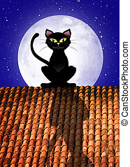 Cat on roof - illustration of cat on roof
