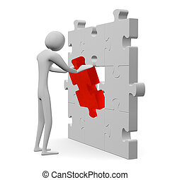 3d man inserting red missing piece in grey puzzle