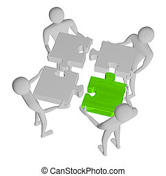 3d people assembling puzzle, one green piece, isolated on...