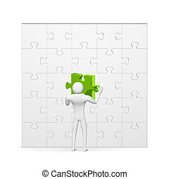 3d man inserting green missing piece in grey puzzle - 3d man...