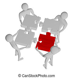 3d people assembling puzzle, one red piece, isolated on...