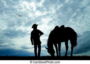 paarde,  silhouette,  man