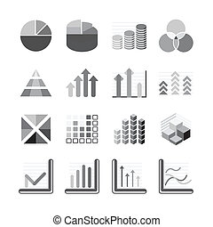 Graph chart Business and financial Icons set balck color. Vector illustration.