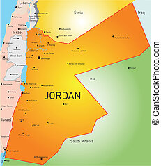 Jordan - detailed vector color map of Jordan country