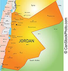Jordan - detailed vector color map of Jordan country