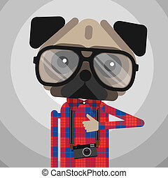 Cute fashion Hipster pug dog pet, vector eps10 illustration.