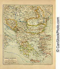 Old map of Balkan countries