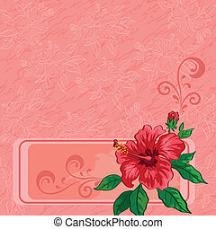 Floral background, hibiscus and contours - Floral background...