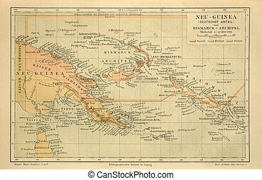 Old map of the New Guinea