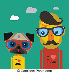 Cute fashion Hipster man and pug dog pet, vector eps10...
