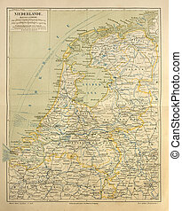 Old map of Netherlands