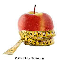 apple in measure to tape - Apple and measuring tape - diet...