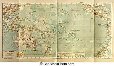 Old map of the Oceania - Original print made in 1885...