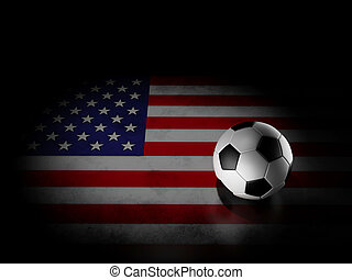 Soccer ball with american flag - image of football with usa...