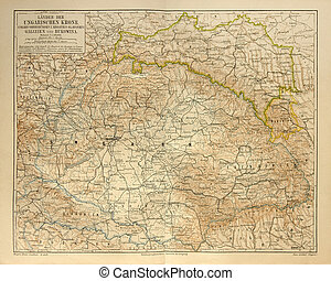 Old map of Hungarian Empire - Original print made in 1885...