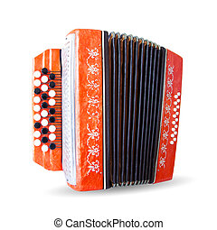 Ancient accordion isolated on white