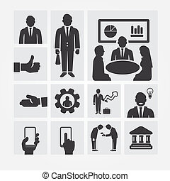 자원, 관리, 사업, 바람 빠진 타이어, 개념, 아이콘, 삽화, 벡터, 디자인, 인간