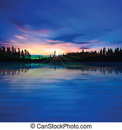 abstract background with forest lake and sunrise - abstract...