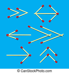 Arrows Symbols Made from Matches on Blue Background