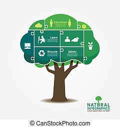 Infographic Green Tree jigsaw banner.environment concept...