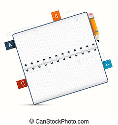Vector Paper Notebook Illustration on White Background
